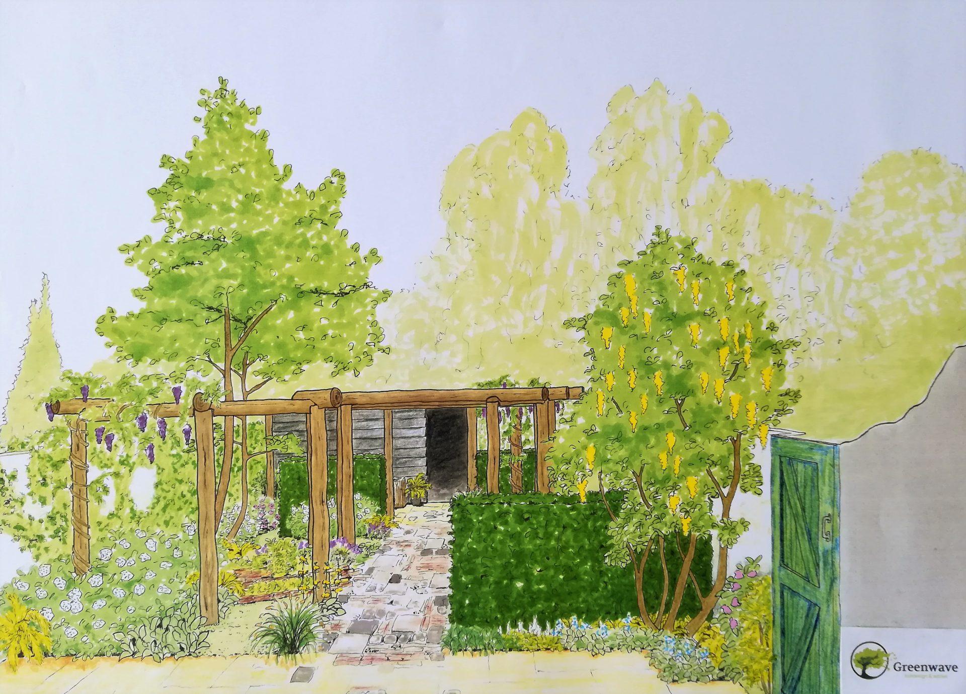 perspectief tuin met kastanjepalen pergola