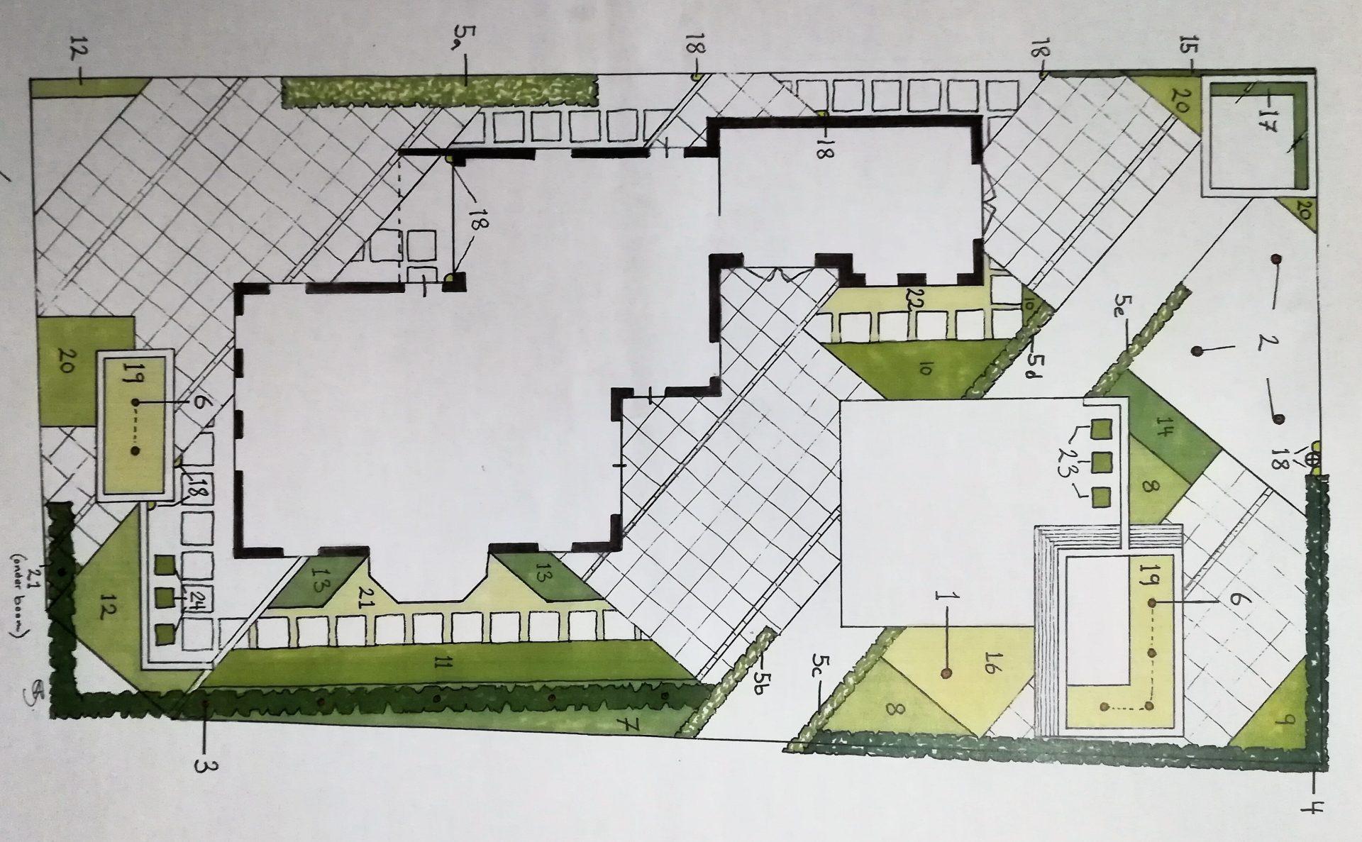 beplantingsplan tuin met diagonale lijnen