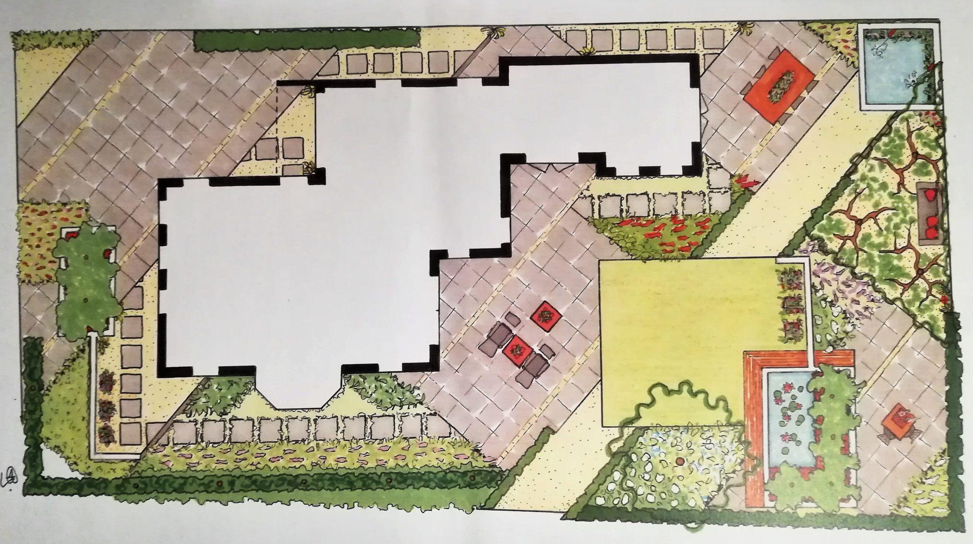 tuinontwerp met diagonale lijnen