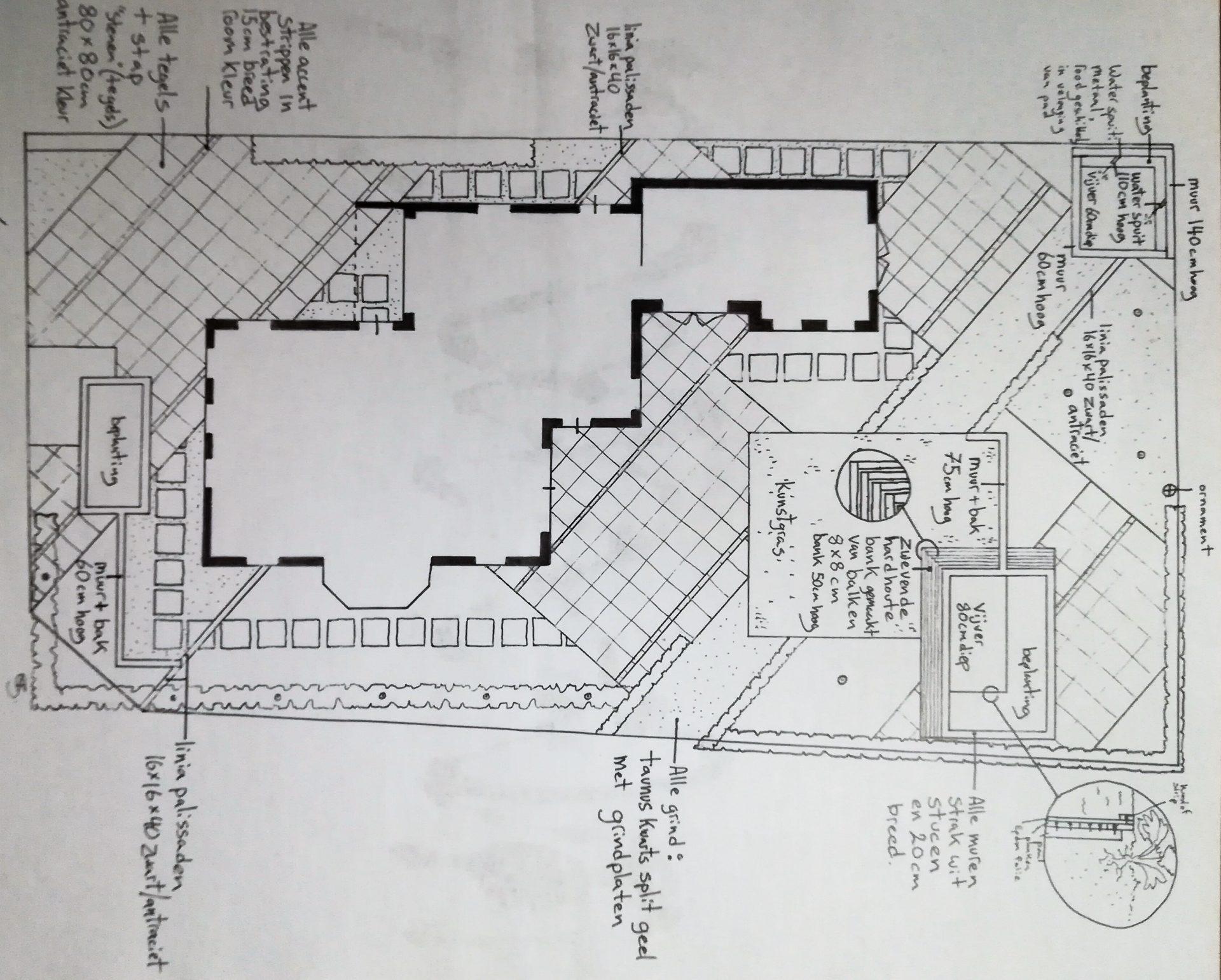technische tekening tuin met diagonale lijnen